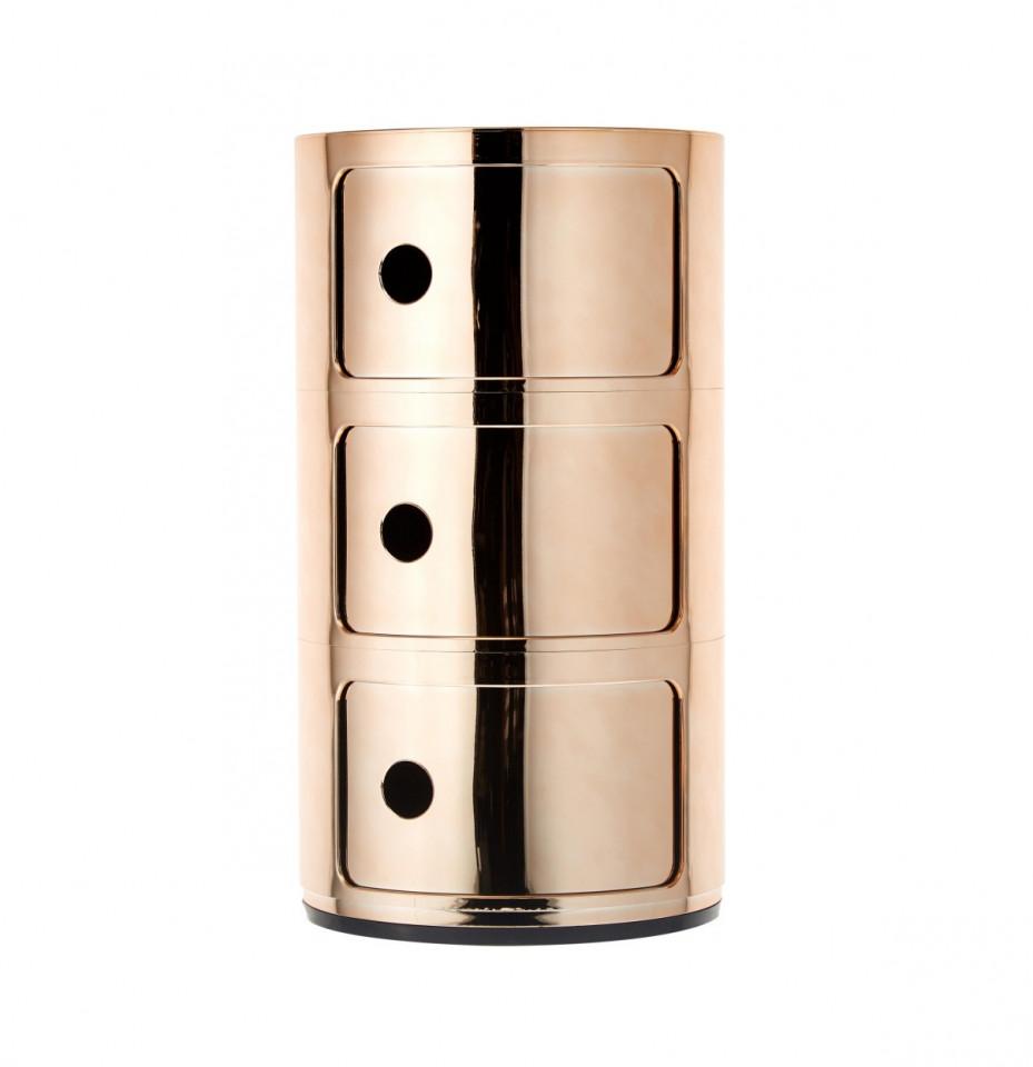 Noptieră Componibile din metal, alamă, 32x59cm