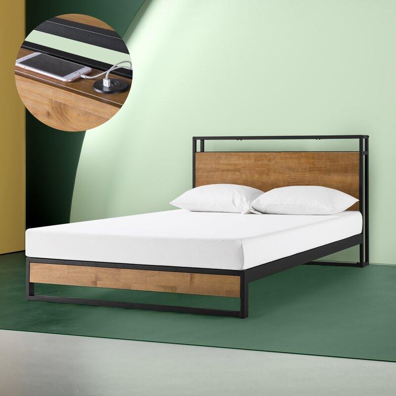 Pat Cara din lemn, negru / maro, 204 x 90 cm