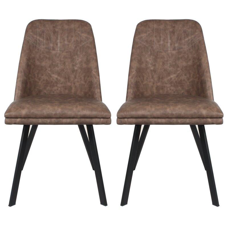 Set 2 scaune tapițate Brieona, maro închis, 84cm H x 47cm W x 60cm D