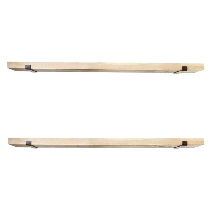 Set de 2 etajere Eck, lemn/metal, maro, 16 x 60 x 14 cm