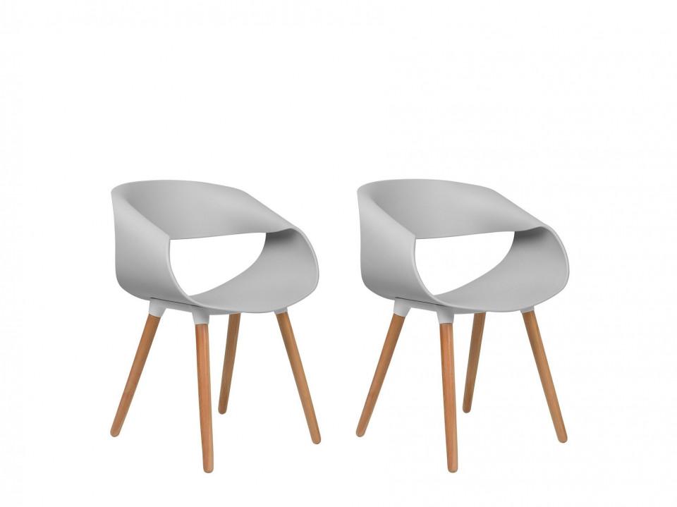 Set de 2 scaune Charlotte, gri/maro, 55 x 39 x 78 cm image0