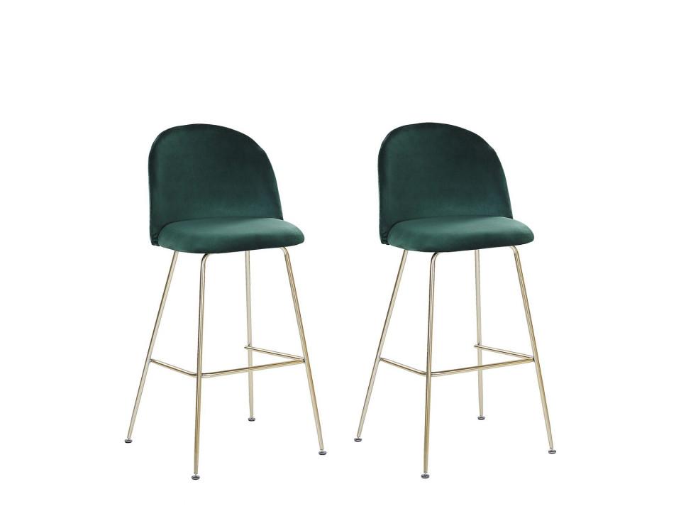 Set de 2 scaune de bar Arcola, catifea, verde, 52 x 54 x 114 cm