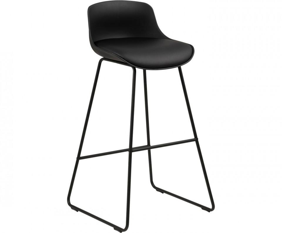 Set de 2 scaune de bar Tina din piele ecologică, negru