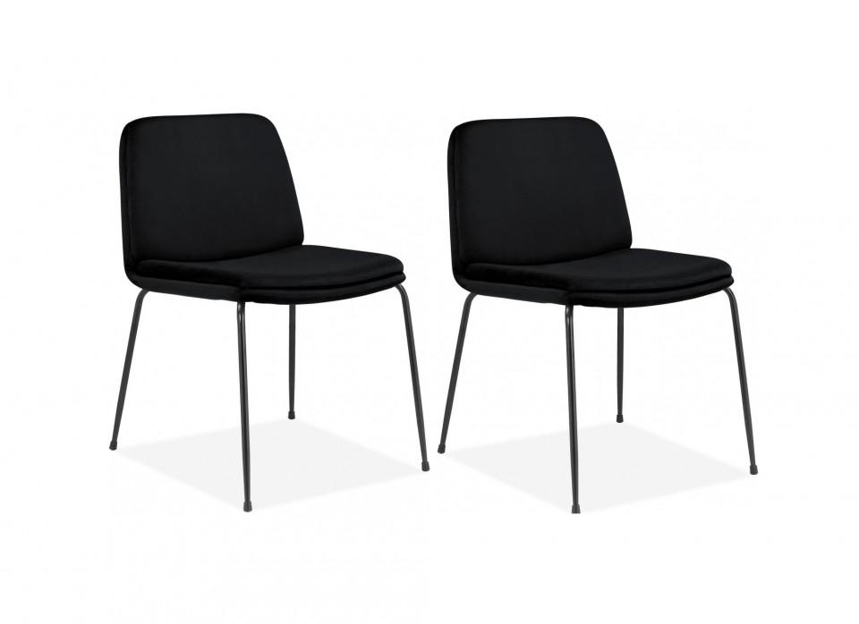 Set de 2 scaune Heine Svaneke, catifea, neagra, 51 x 59 x 78 cm