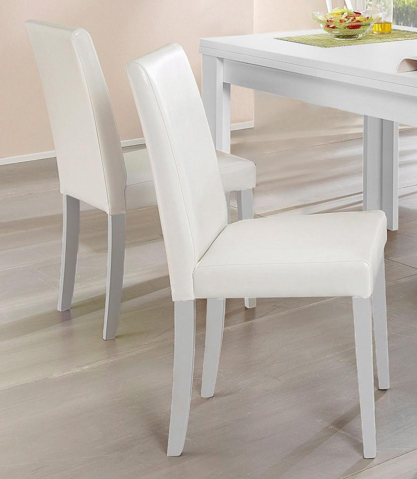 Set de 2 scaune Lion piele sintetica - alba