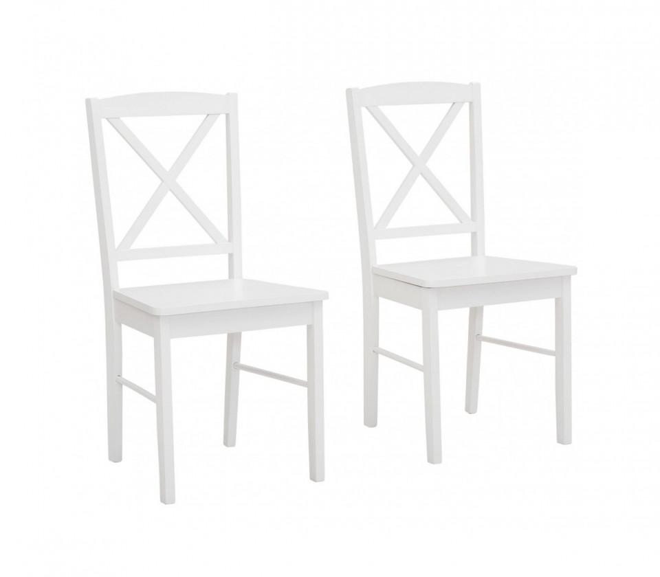 Set de 2 scaune Sonoma, MDF/lemn masiv de pin, alb, 44.5 x 47.5 x 89 cm
