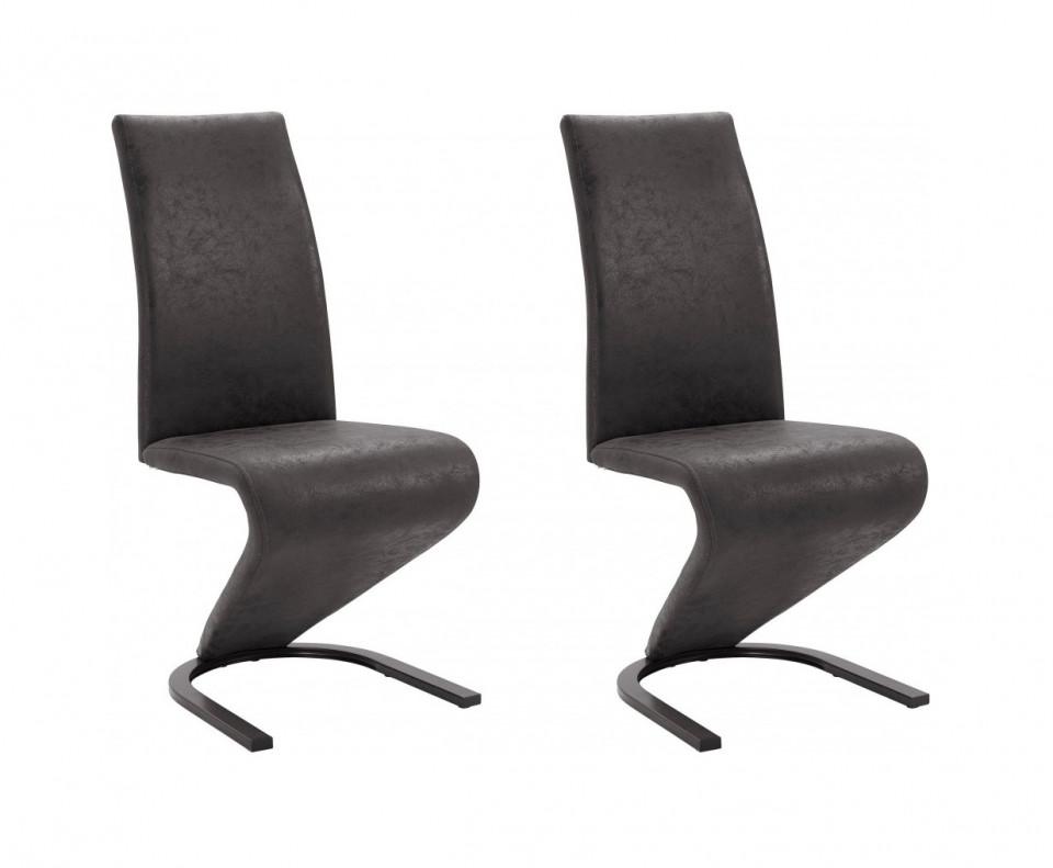 Set de 2 scaune Ziri, microfibra/ metal, negru, 45x61x101 cm poza chilipirul-zilei.ro