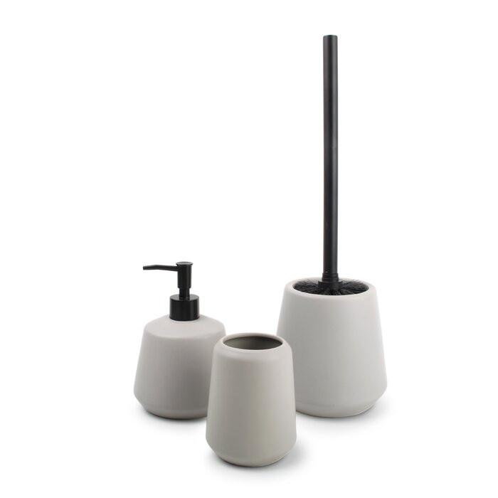 Set de 3 accesorii pentru baie, plastic, gri chilipirul-zilei 2021