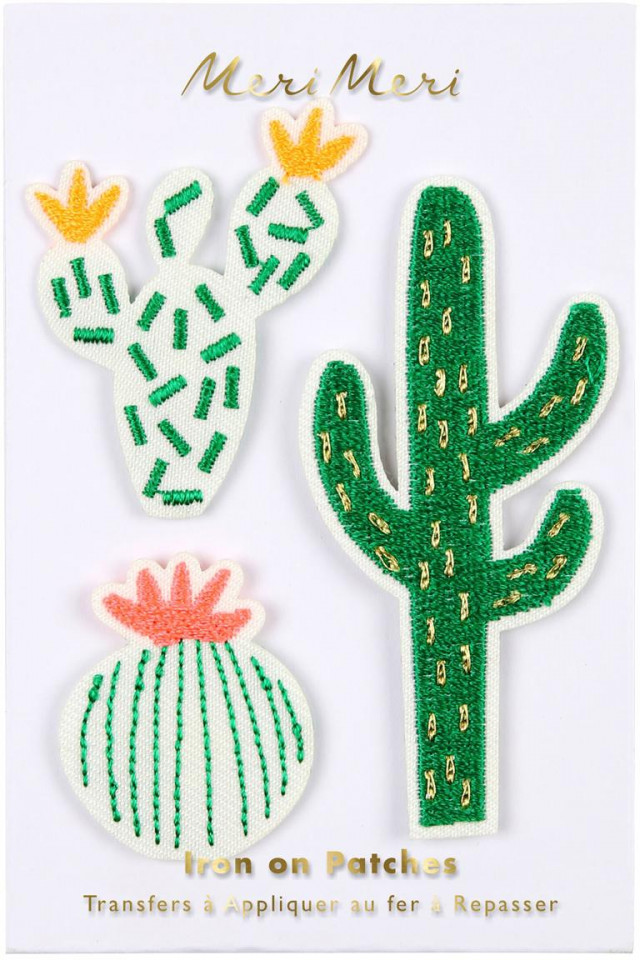 Set de 3 patch-uri de lipt pe tesatura, model Cactus, 8 x 12 cm imagine 2021 chilipirul zilei