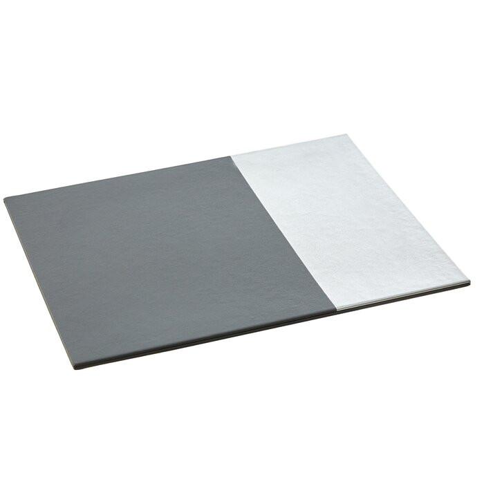 Set de 4 servete Geome, carton/poliuretan, gri/argintii, 28 x 21 cm imagine chilipirul-zilei.ro