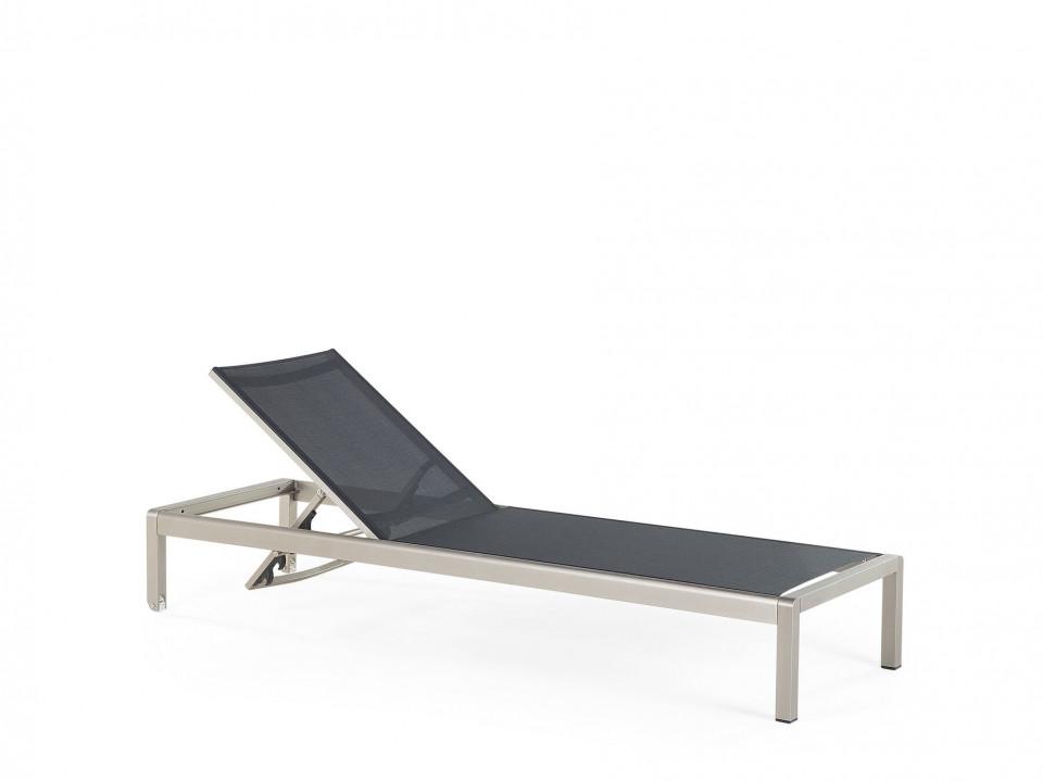 Sezlong Fossato, negru/argintiu, 64 x 198 x 93 cm chilipirul-zilei.ro