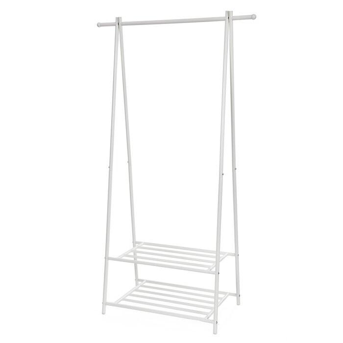 Sina imbracaminte, metal, alb, 155 x 87,5 x 41 cm