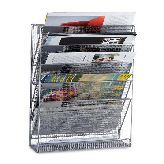 Suport pentru reviste Willett, metal, argintiu, 40,5 x 32,5 x 10,5 cm