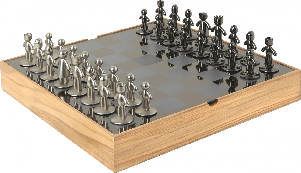 Tabla de sah, 33 piese, lemn/metal, 33 x 4 x 33 cm