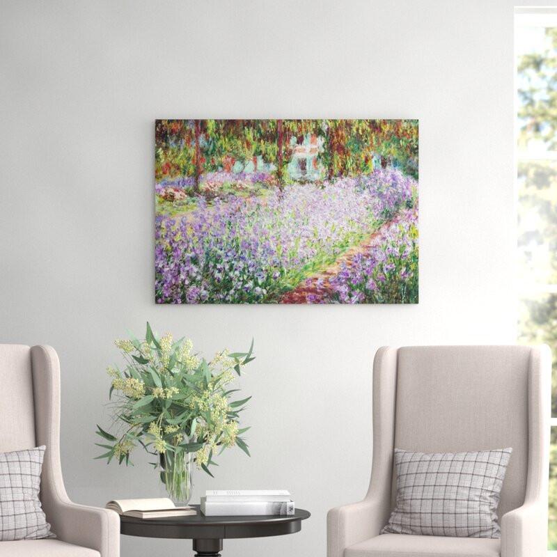 Tablou canvas Irises in Monet's Garden , 70 x 100 cm poza chilipirul-zilei.ro