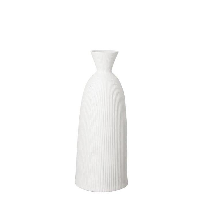 Vaza pentru flori, portelan, alba, 46 x 18,5 x 18,5 cm