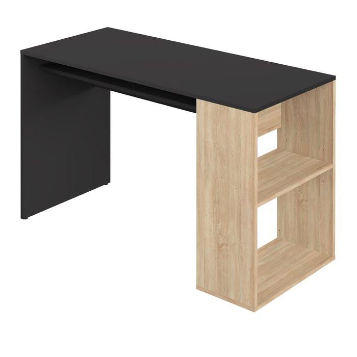 Birou Grogan, negru/maro, 75,5 x 114 x 50 cm imagine chilipirul-zilei.ro