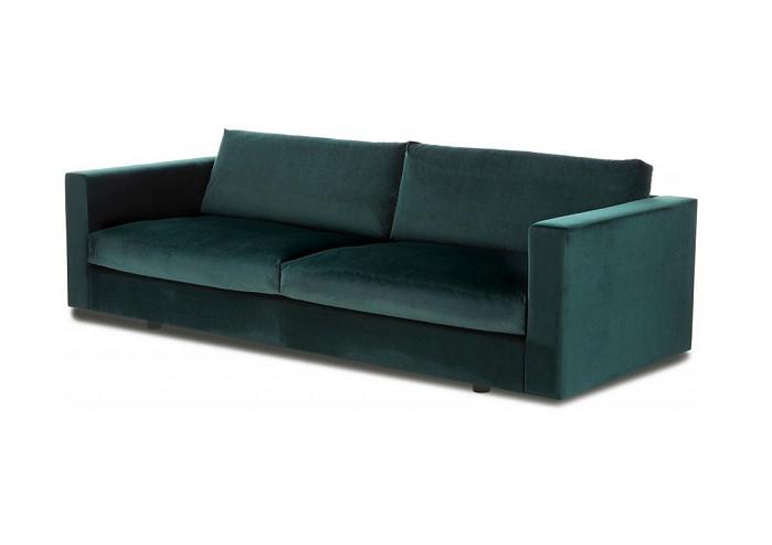 Canapea Balmira cu 3 locuri din catifea verde închis, 240 x 76 x 96 cm 2021 chilipirul-zilei.ro