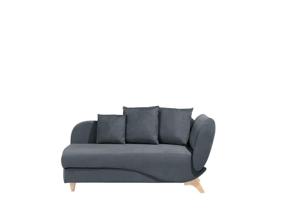 Canapea tip divan Meri, catifea gri inchis