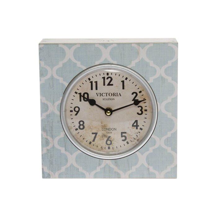 Ceas de masă, alb/albastru, 23 x 23 x 10 cm