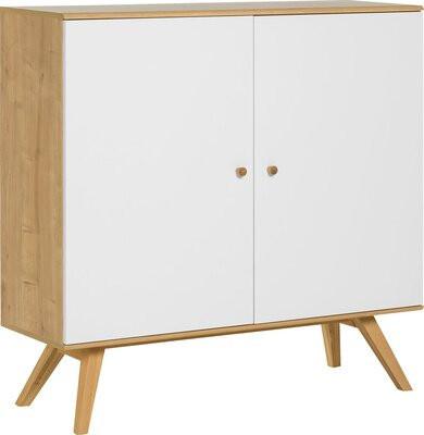 Comoda Arlo din lemn masiv, alb, 117 x 120 x 40 cm poza chilipirul-zilei.ro