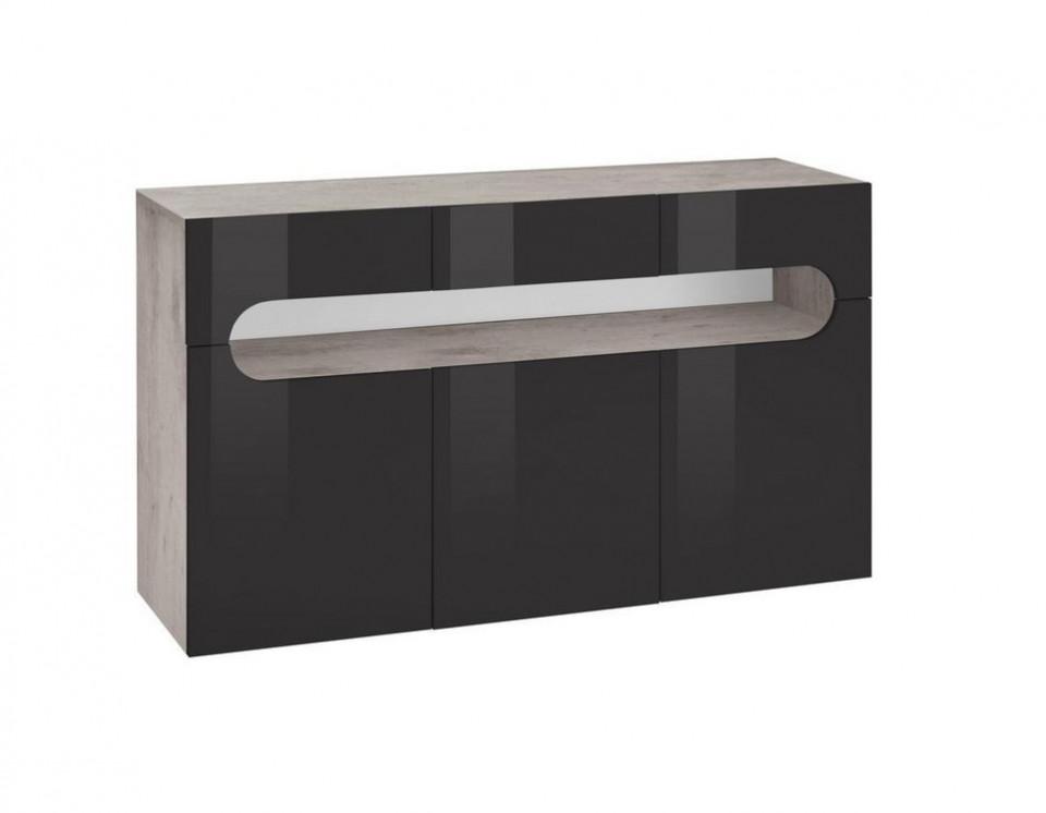 Comoda Places of Style, antracit, 135 x 81 cm, functie push-to-open