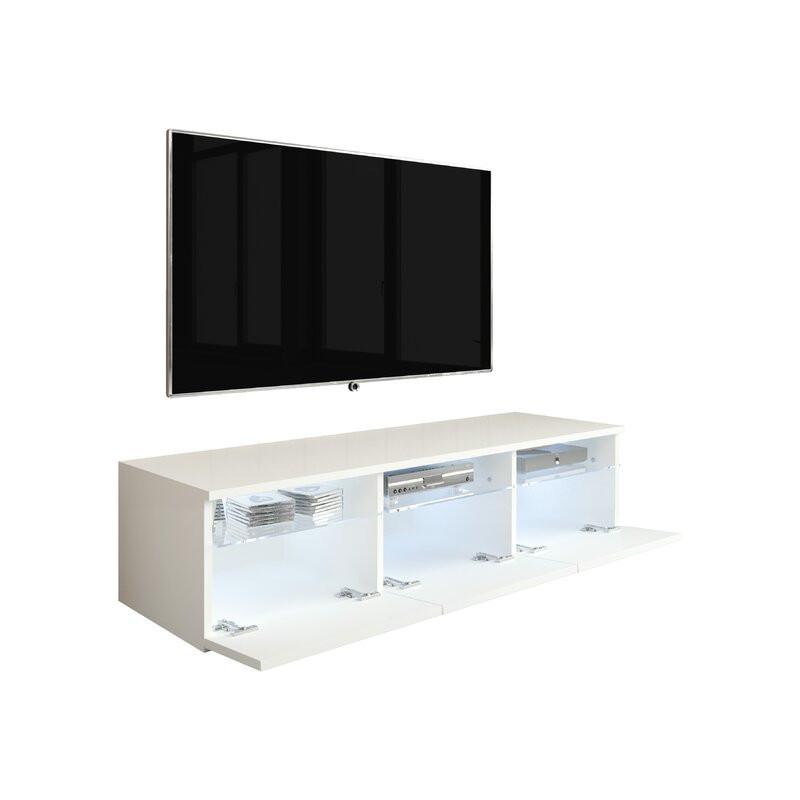 "Comodă TV 65 "" Sonnenberg, alb / gri, 136.4cm x 81cm x 46cm imagine chilipirul-zilei.ro"