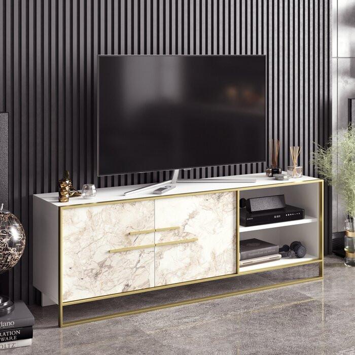 Comoda TV Busey, Alba, 160 x 56,6 x 38,5 cm