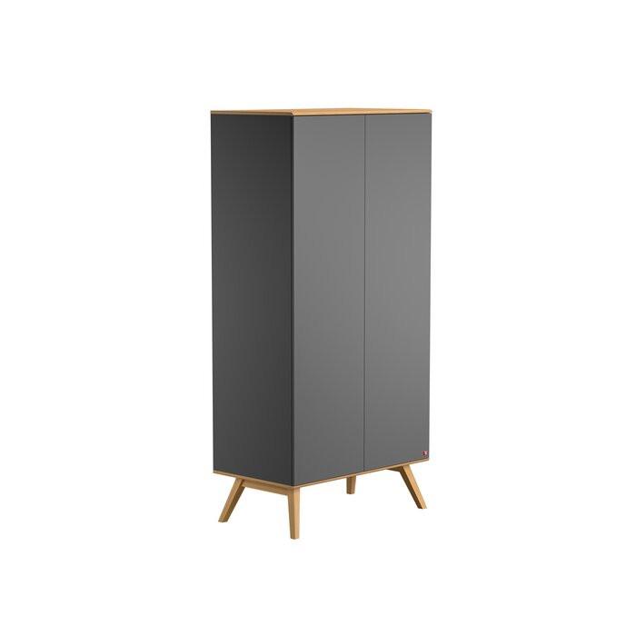 Dulap Cherine, lemn, gri, 207,5 x 100 x 58 cm