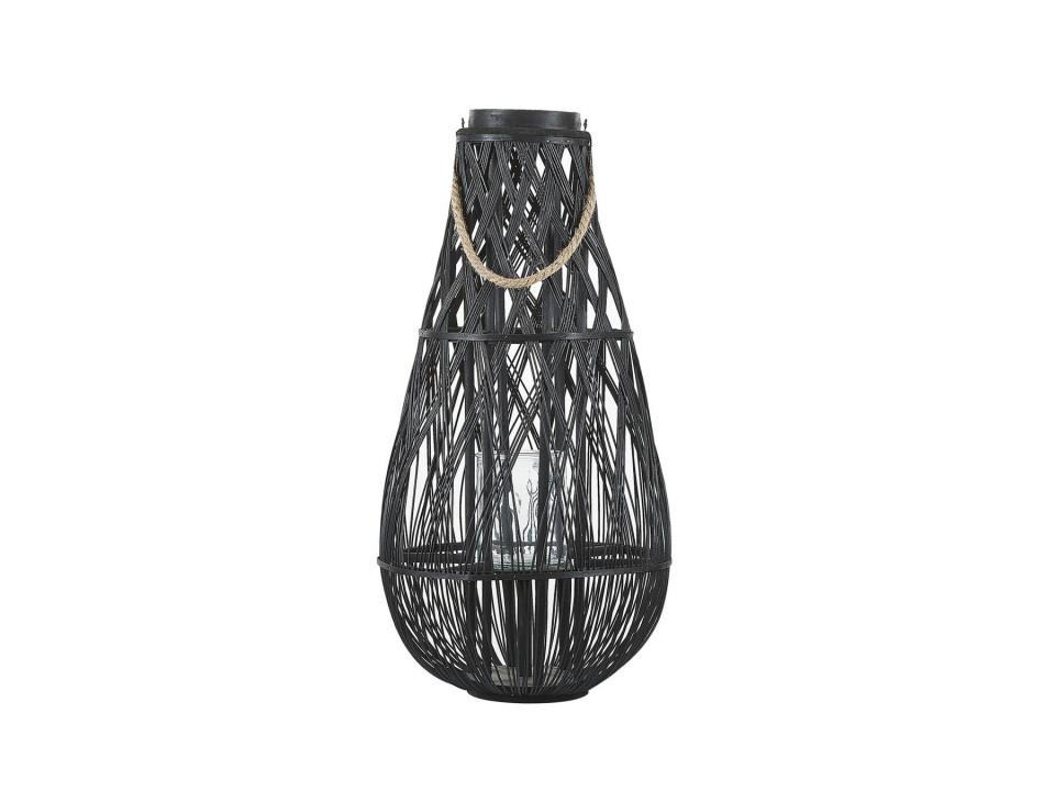 Felinar TONGA, lemn, negru, 39 x 39 x 77 cm poza chilipirul-zilei.ro