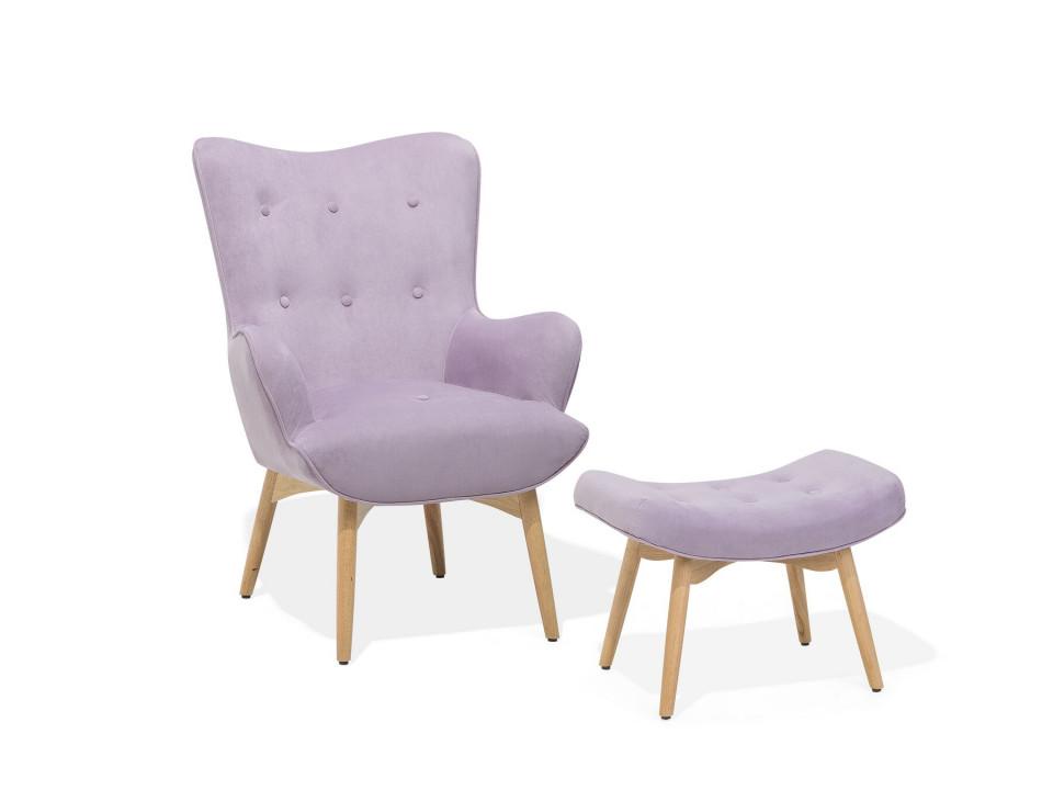 Fotoliu cu scaun pentru picioare Vejle, roz, 81 x 78 x 100 cm image0