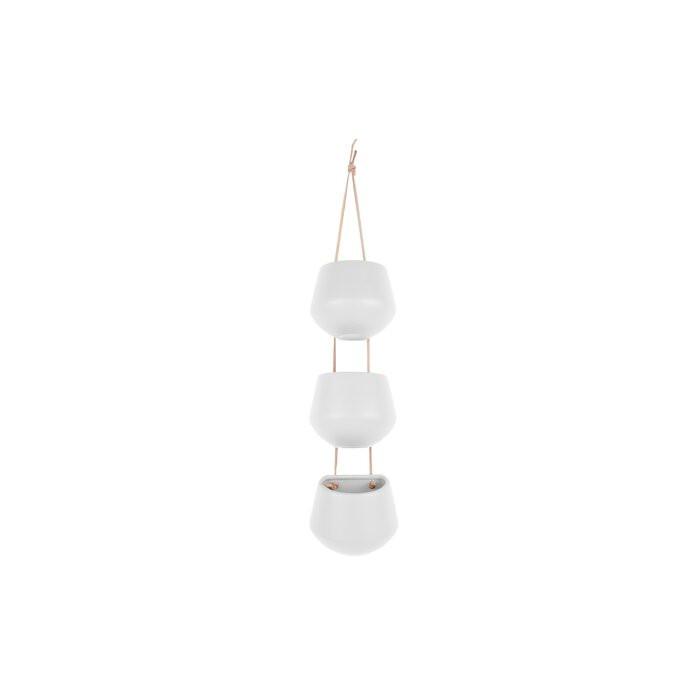 Ghiveci suspendat Shellharbour, ceramica, alb, 9,5 x 12,2 x 6 cm poza chilipirul-zilei.ro
