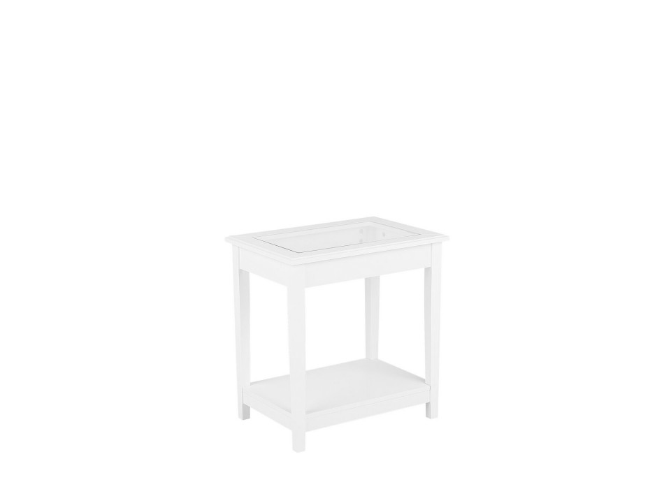 Masa laterala ATTU, MDF/sticla, alba,60 x 40 x 57 cm poza chilipirul-zilei.ro