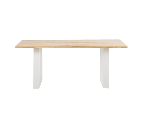 Masa Oliver cu blat din lemn masiv, 180 x 90 cm, picioare albe