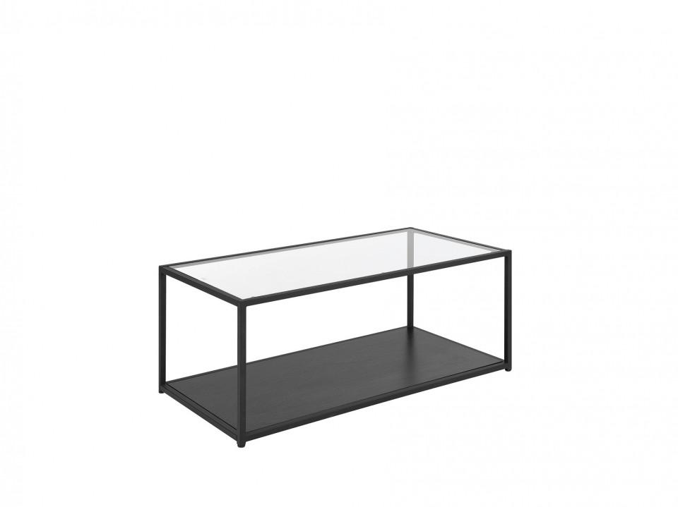 Masuta de cafea MEDORA, sticla/metal, 100 x 42 x 54, negru