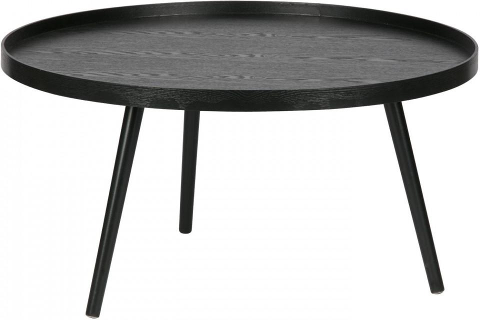 Masuță Mesa rotundă din lemn, neagră, 78 x 39 cm poza chilipirul-zilei.ro