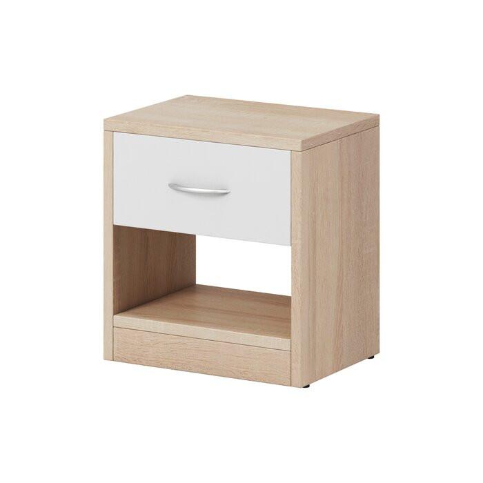 Noptieră Shulin, lemn, maro/alba, 41 x 39 x 28 cm