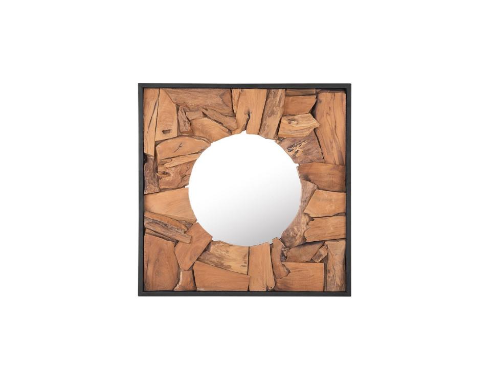 Oglinda de perete YECORA, lemn, maro, 70 x 70 x 5 cm imagine 2021 chilipirul zilei
