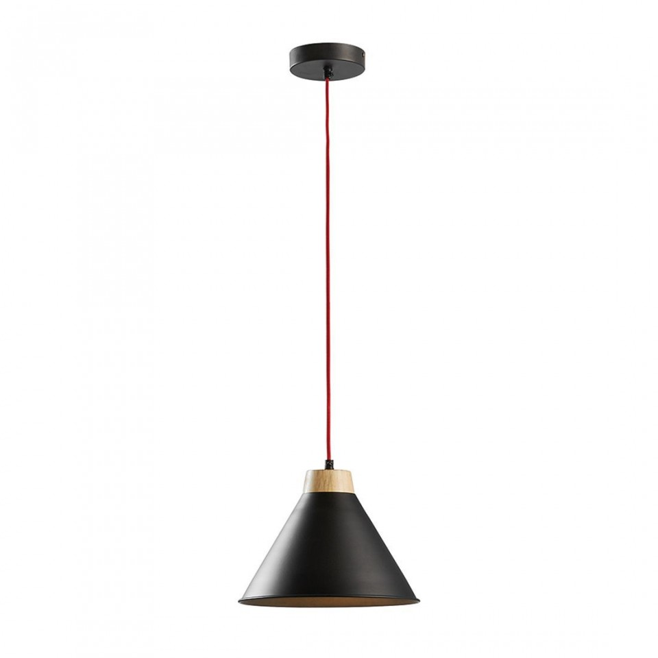 Pendul Bora lemn/metal, 1 bec, negru