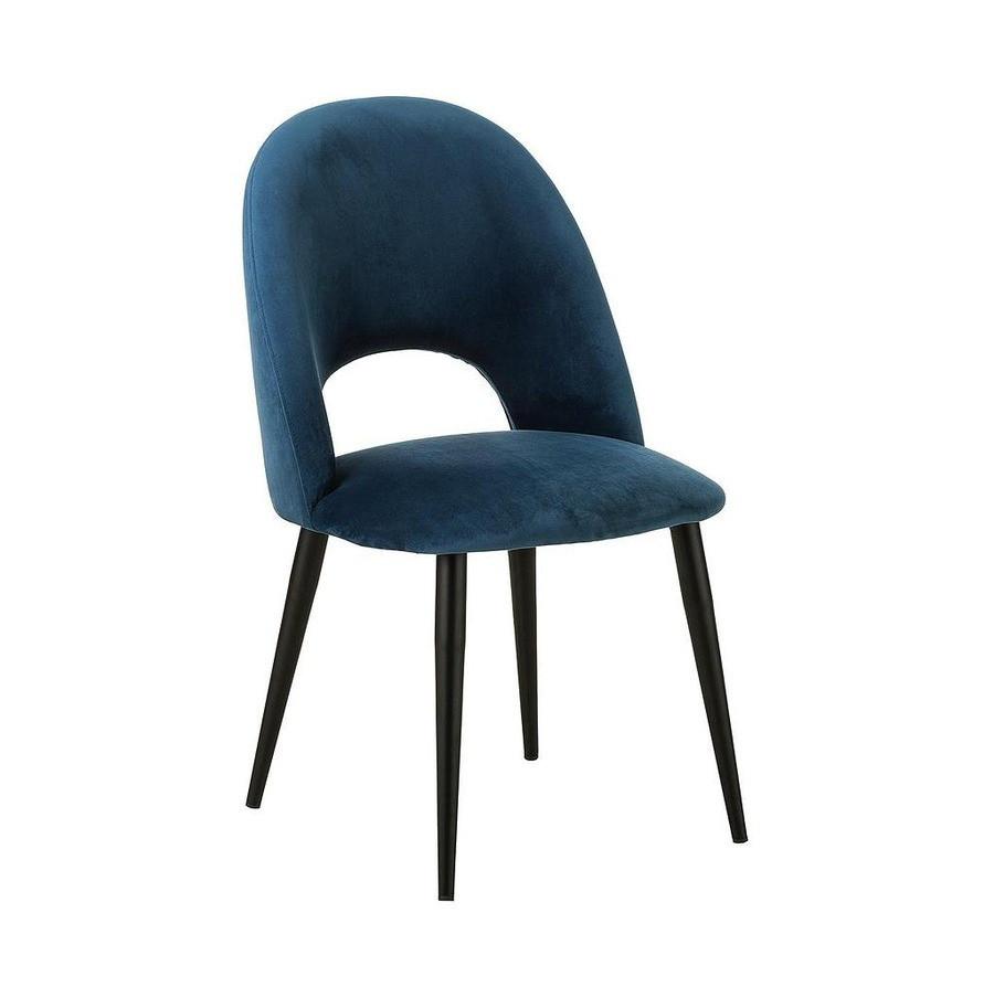 Scaun Rachel din catifea albastru inchis, 53 x 89 x 57 cm