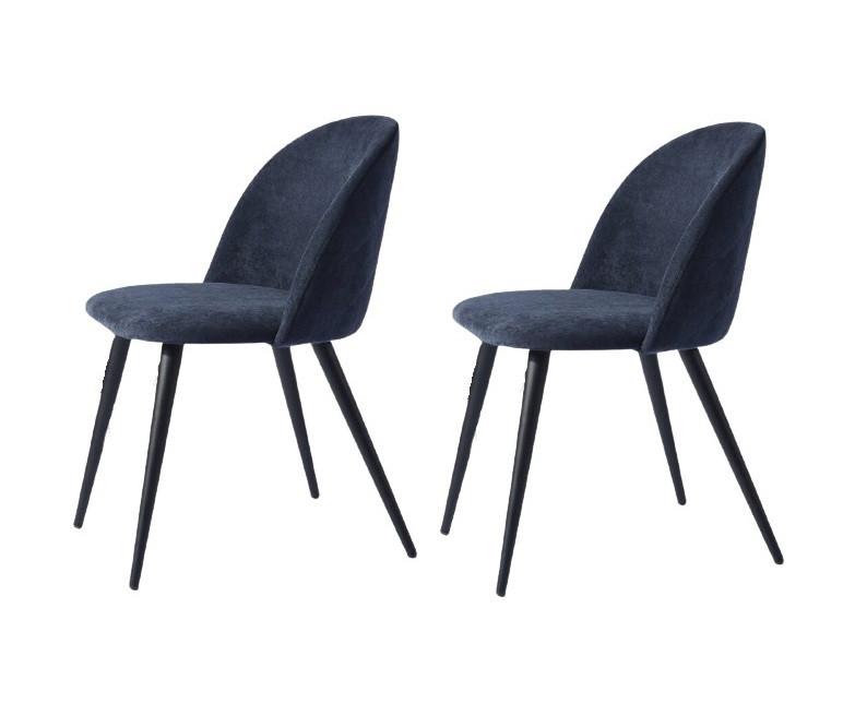 Set 2 scaune de masă tapițate Alto, albastru, 77,5cm H x 49cm W x 49,5cm D