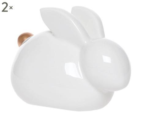 Set de 2 obiecte decorative Rabbit albe