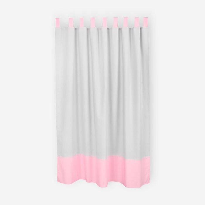 Set de 2 perdele, bumbac, gri/roz, 135 x 170 cm