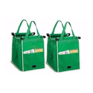 Set de 2 sacose reutilizabile pentru cumparaturi, care se ataseaza la cosul de cumparaturi poza chilipirul-zilei.ro