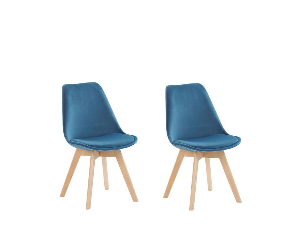 Set de 2 scaune DAKOTA II, lemn/catifea, albastru, 47 x 57 x 82 cm imagine 2021 chilipirul zilei