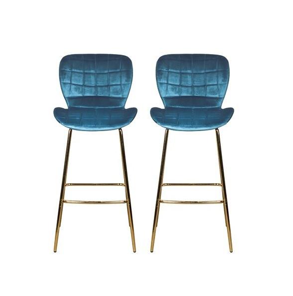 Set de 2 scaune de bar Lily din catifea, albastru