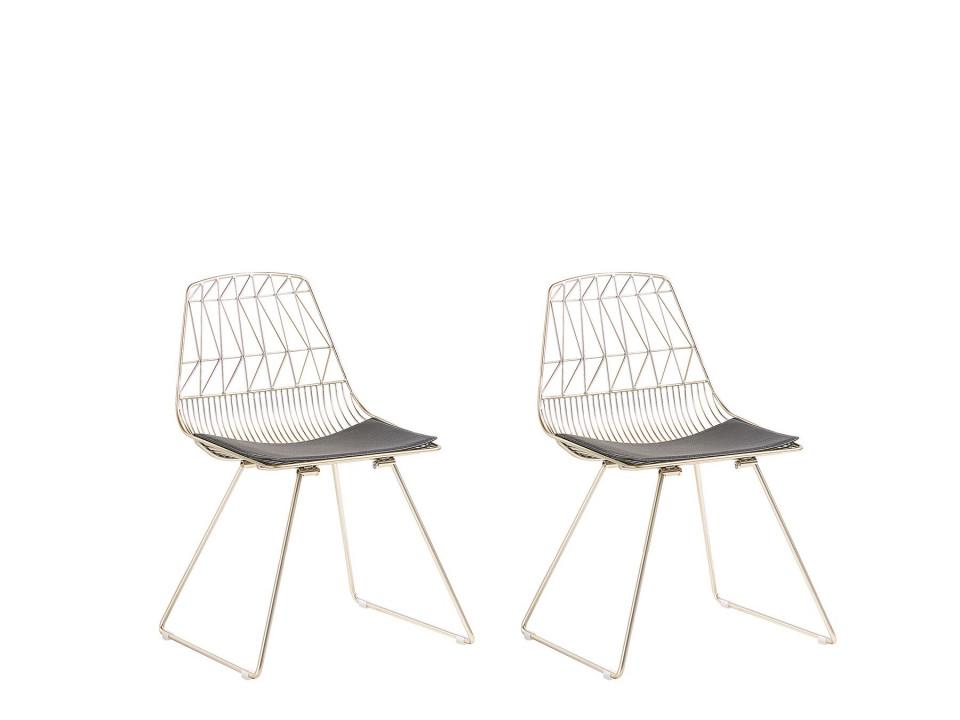 Set de 2 scaune HARLAN, aurii, 53 x 50 x 78 cm 2021 chilipirul-zilei.ro