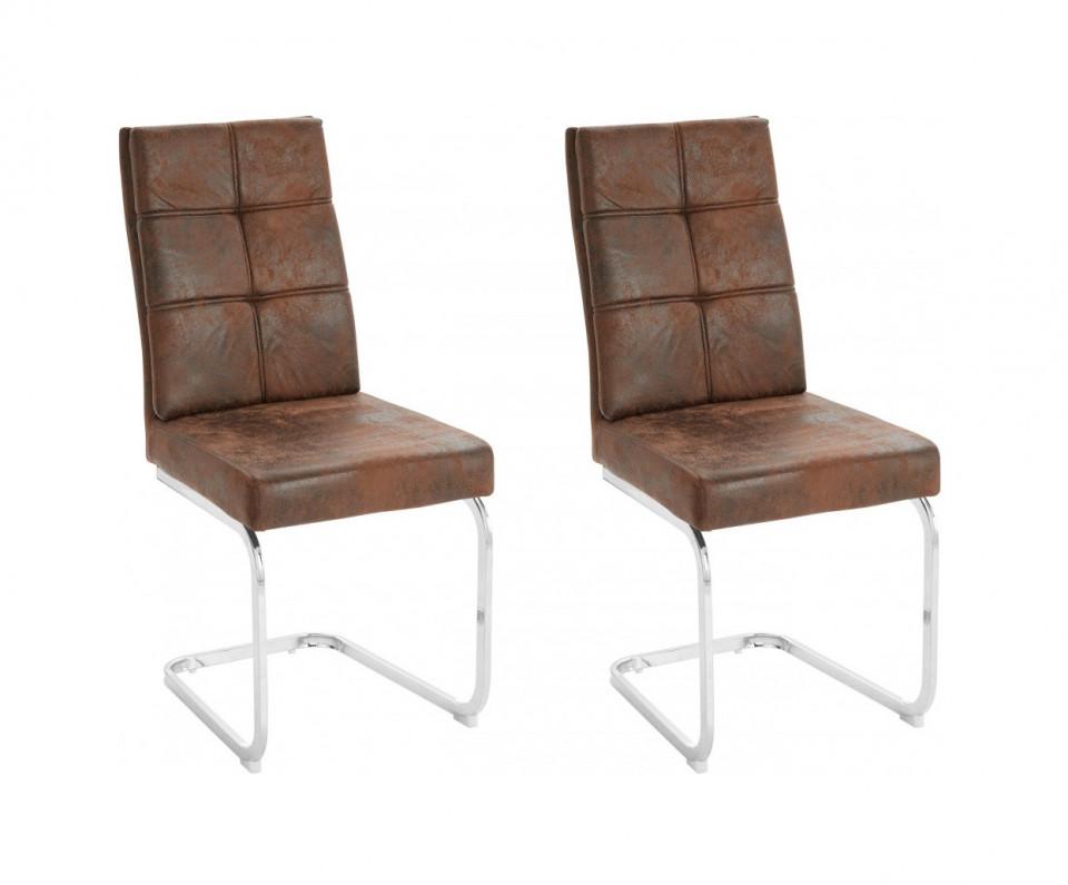 Set de 2 scaune Lale, microfibra/metal, maro/argintiu, 45x61x95 cm chilipirul-zilei 2021