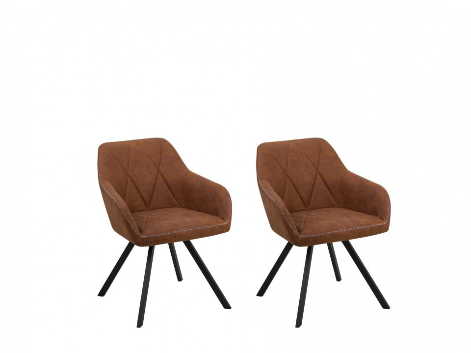 Set de 2 scaune MONEE, poliester, maro/negre, 48 x 50 x 78 cm