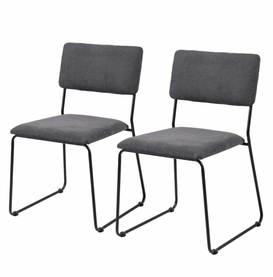 Set de 2 scaune Paulista tesatura/fier, negru, 50 x 80 x 54 cm chilipirul-zilei.ro
